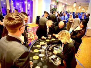 Black Table at Casino Party in Sacramento