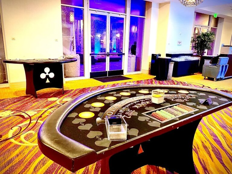 Black Jack table at Pop Up Casino Party in Sacramento